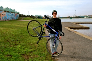 Jack and his bicycle in Hove